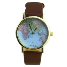 Retro World Map Watch Women Round Dial Leather Strap Watches Vintage Earth Map Wristwatch Brown (Intl)