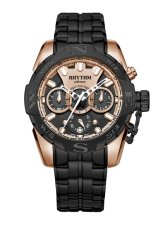 Rhythm S1414.05 - Jam Tangan Pria - Stainless - Black Rose Gold