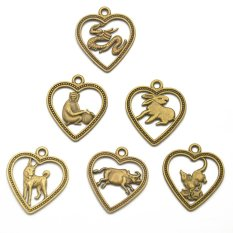 RIS 12Pcs Antique Bronze Chinese Zodiac Horoscope Charms Pendant Amulet - Intl