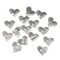RIS 16x Antique Silver Single Face Letter Carved Heart Pendant Charms 21 X 17mm (Intl)