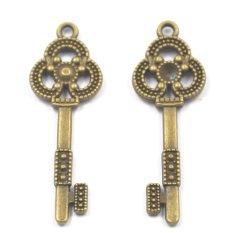RIS 6pcs Antique Bronze Flower Key Charms Pendants For Jewelry Making DIY