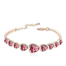 Romantic Heart Shape Crystal Bangles Womens Fashion Jewelry LB286 Pink