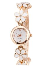 Rose Gold Daisies Flower Bracelet Wrist Watch (White)