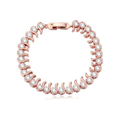 Rose Gold Plated AAA CZ Stone Aestheticism Like Water Chain Bracelets Gift For Woman (Rose Gold)