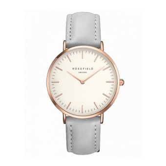 ROSEFIELD Women's Fashion Simple Style Rose Gold Dial Thin Leather Strap Quartz Watch(Grey) - intl