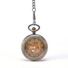 Round Bronze Transparent Mechanical Pocket Watch With Chain Steampunk Skeleton Antique Men Pocket Watch Sales