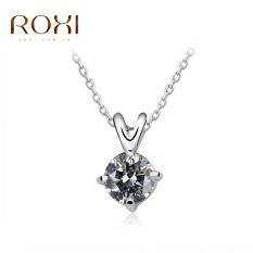 ROXI Classic Fashion Round CZ Diamond Pendant Chain Necklace Fine Wedding Engagement Jewelry Accessory For Women Bride - Intl