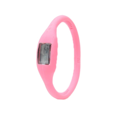 Runbu Silicon Negative Ion Jelly Table Digital Watches Gel Waterproof Wristwatches Movement Digital-Watch Pink