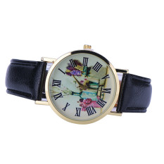 Rural Style Women Fashion Collocation Leather Watch Black (Intl)