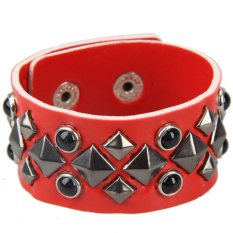 S And F Attractive Square Rivet Unisex Wide Bracelet Cuff Bangle Wristband (Red)
