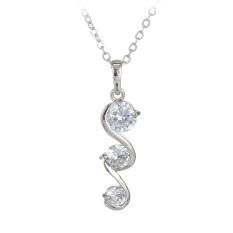 S & F Elegant Austrian Zircon Double S Curvy Shape Pendant 18K Platinum Plating Copper Necklace Women Fashion Jewelry - Silver - Intl