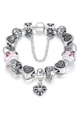 S & F Heart Letter Beads Charm Bracelet with Pink Murao Glass Beads - Silver