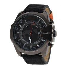 S & F JUBAOLI 1049 Mens World Map Pattern 24 Hour Analog Display Qaurtz Canvas & PU Leather Sports Wrist Watch With Date Function - Black