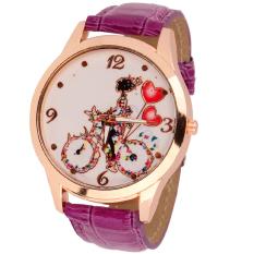 S & F New Fashion Women Dial Classic Design Leather Quartz Ladies Wrist Watch Purple (Intl)