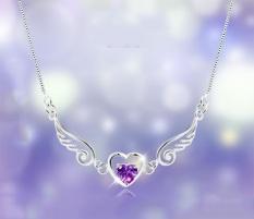 S925 perak 925 sayap malaikat bentuk hati Amethyst kalung kristal untuk wanita - International (... )