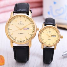 Saint Costie - Jam Tangan Pria & Wanita - Body Gold - Gold Dial - Leather Band - SC-JK-G-8011GL-GG - Couple