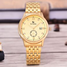 Saint Costie Original Brand - Jam Tangan Pria - Body Gold ? Gold Dial ? Stainless Stell Band - SC-RT-8009G-GG