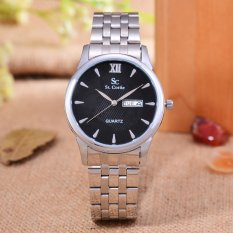 Saint Costie Original Brand - Jam Tangan Pria - Body Silver - Black Dial - Stainless Stell Band - SC-RT-8008G-SB