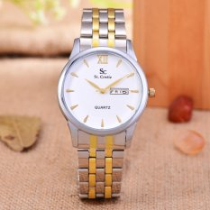 Saint Costie Original Brand, Jam Tangan Pria - Body Silver / Gold - White Dial - Stainless Stell Band - SC-RT-8008G-SGW