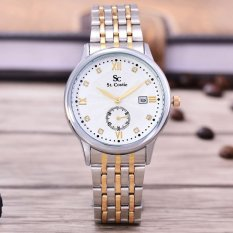 Saint Costie Original Brand - Jam Tangan Pria- Body Silver / Gold ? White Dial ? Stainless Stell Band - SC-RT-8009G-SGW