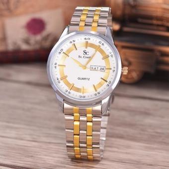 Saint Costie Original Brand, Jam Tangan Pria - Body Silver / Gold - White Dial - Stainless Stell Band - SC-RT-8017G-TH-SGW-KOMB (White)