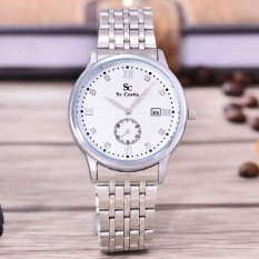 Saint Costie Original Brand - Jam Tangan Pria - Body Silver - White Dial - Stainless Steel Band - SC-RT-8009G-SW