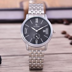 Saint Costie Original - Brand Jam Tangan Wanita - Body Silver - Black Dial - Stainless Steel Band - SC-RT-8007L-SB