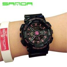 SANDA merek Watch 29201 pria Fashion warna-warni Jelly olahraga multifungsi LED Digital Dual layar