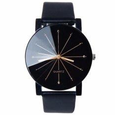 Santorini Jam Tangan Pria Wanita Fashion Kulit Sintesis Quartz Men Lady Watch - Black