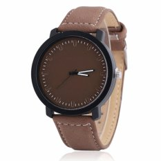 Santorini Jam Tangan Pria Wanita Minimalist Fashion Analog Quartz Men Lady Kulit PU Watch - Brown