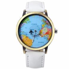 Santorini Jam Tangan Pria Wanita World Map Fashion Quartz Leather Men Lady Watch - White