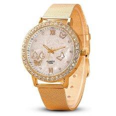 Santorini Jam Tangan Wanita Analog Women Fashion Butterfly Stainless Steel Diamond Wrist Watch - GOLD