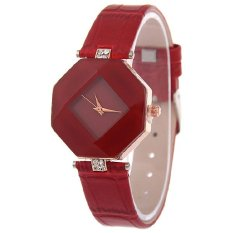 Santorini Jam Tangan Wanita Fashion Faux Leather Luxury Women Analog Quartz Wrist Watch - Red