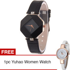 Santorini Jam Tangan Wanita Faux Leather Luxury Women Watch - Black + Gratis Yuhao Diamond Style Women Watch - White