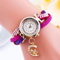 Santorini Jam Tangan Wanita Moon Star Fashion Diamond Analog Style Faux Leather Bracelet Watch - Dark Pink