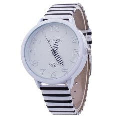 Santorini Jam Tangan Wanita Stripes Fashion Leather Analog Women Wrist Watch - Black