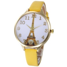 Sanwood® Eiffel Tower Dial Faux Leather Band Analog Quartz Wrist Watch Lady Party Gift (Yellow) - intl
