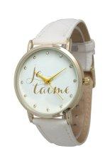 Sanwood Fashion Women's Men's Je T'aime Lover Faux Leather Quartz Wrist Watch White