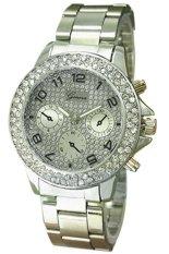 Sanwood Geneva Women's Men's Alloy Rhinestone Analog Quartz Wrist Watch Silver