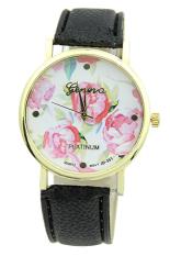 Sanwood Geneva Women's Rose Flower Faux Leather Analog Quartz Wrist Watch Black
