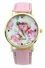 Sanwood Geneva Women's Rose Flower Faux Leather Analog Quartz Wrist Watch Pink