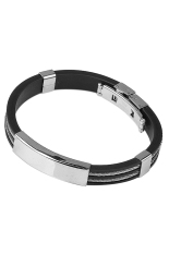 Sanwood Men's Fashion Rubber Two Layers Stainless Steel Bracelet Jewelry