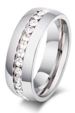 Sanwood sepasang kekasih berlian imitasi TITANIUM cincin baja Perak kami 8
