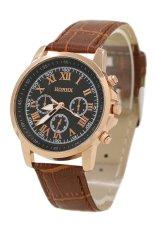 Sanwood Unisex Casual Faux Leather Strap Quartz Analog Wrist Watch Brown Strap & Black Dial