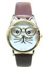 Sanwood Unisex Cute Glasses Cat Faux Leather Analog Quartz Wrist Watch Brown