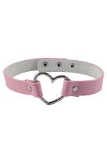 Sanwood Unisex Punk Rivet Heart-Shape Ring Leather Collar Choker Necklace Pink