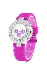 Sanwood® Women's Geneva Silicone Jelly Wrist Watch Deep Pink