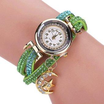 Sanwood® Women's Moon Faux Leather Charm Bracelet Wrist Watch Green