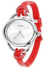 Sanwood Women's Oval Slim Faux Leather Analog Quartz Wrist Watch Red