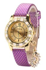 Sanwood Women's Snakeskin Gold Plated Mesh Peacock Rhinestone Wrist Watch Purple